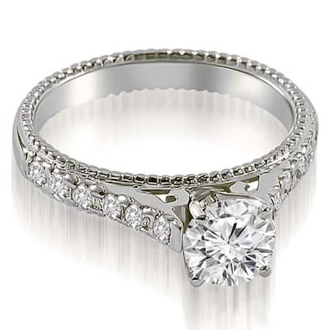 14K White Gold 1.30 CT Vintage Antique Cathedral Round Cut Diamond Bridal Set