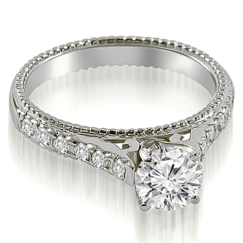 1.40 cttw. 14K White Gold Vintage Cathedral Round Cut Diamond Engagement Ring