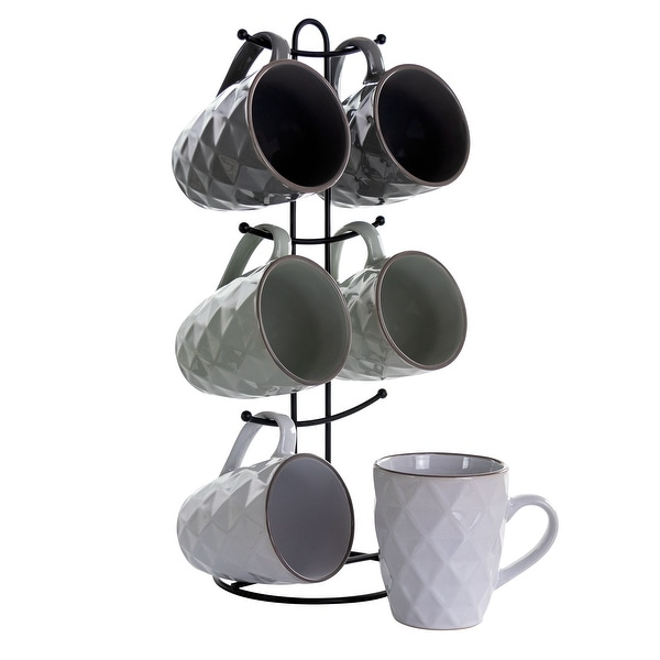 Elama Diamond Waves 6-Piece 12 oz. Mug Set with Stand, Assorted Colors. Opens flyout.