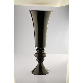"30"" Glossy Black Trumpet Vase with Grooved Accent"