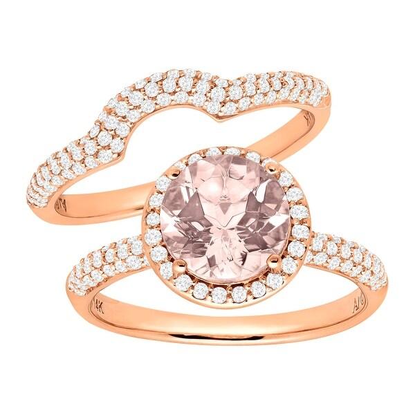1 7/8 ct Natural Morganite & 5/8 ct Diamond Bridal Set in 14K Rose Gold