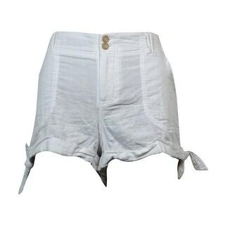 Rewind Juniors Side-Tie Shorts - White