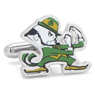Rhodium Plated Notre Dame Fighting Leprechaun Cufflinks - Green