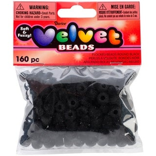 Velvet Beads 6mmX9mm 160/Pkg-Black - Black