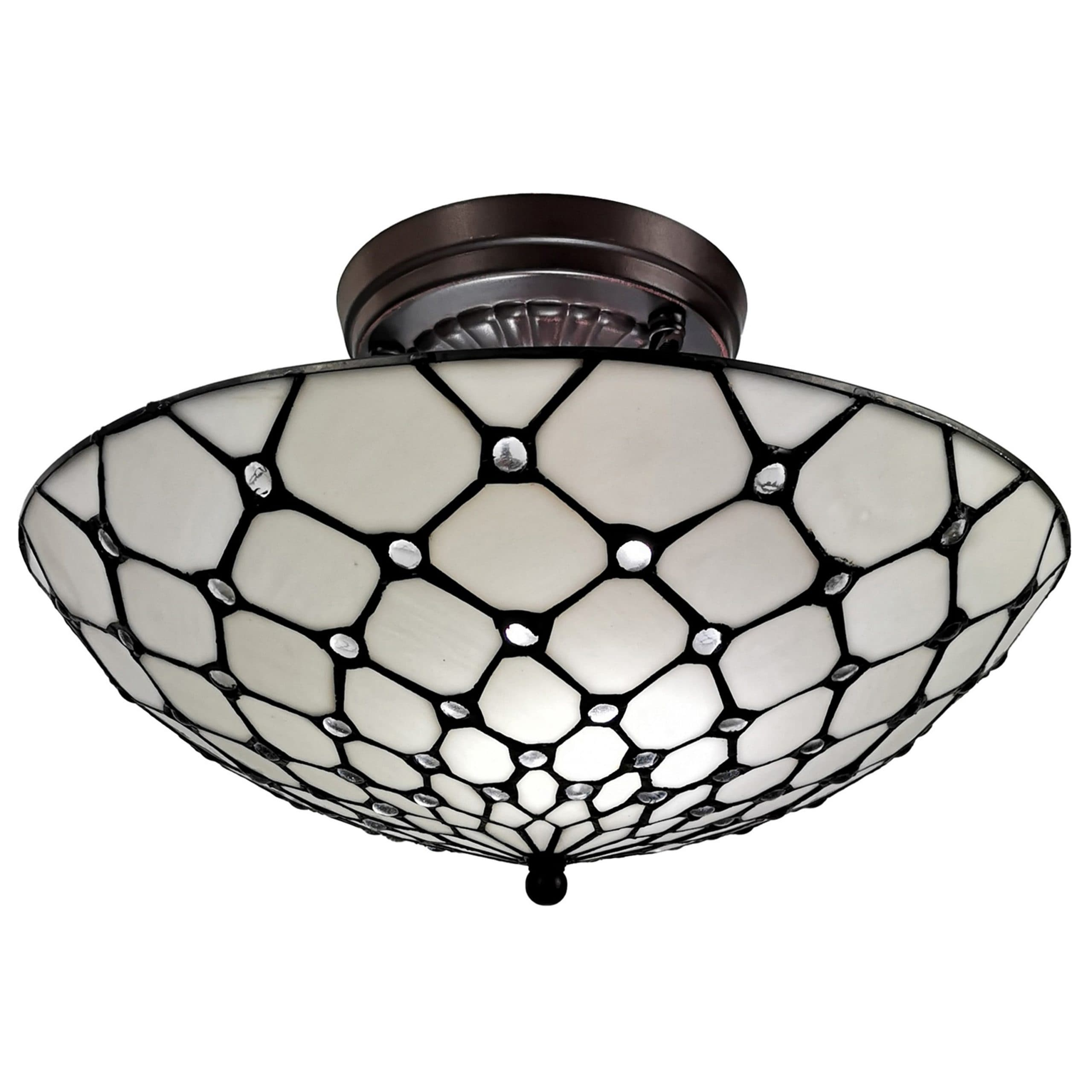 Shop Black Friday Deals On Tiffany Style Ceiling Fixture Lamp Jeweled 17 Wide Stained Glass White Bedroom Hallway Gift Am030cl17b Amora Lighting Overstock 10013202 White
