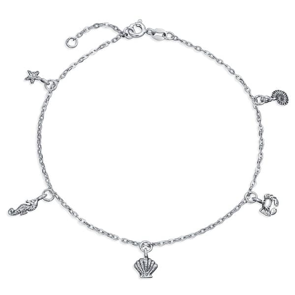 Nautical Multi Charm Dangle Starfish Crab Seahorse Concho Seashell Anklet Ankle Bracelet Oxidized Sterling Silver 9 10In