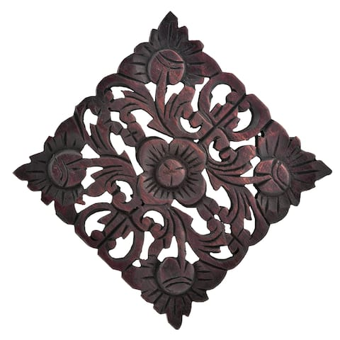 Handmade Rustic Floral Medallion Hand Carved Teak Wood 8 Inches Wall Art (Thailand) - Brown
