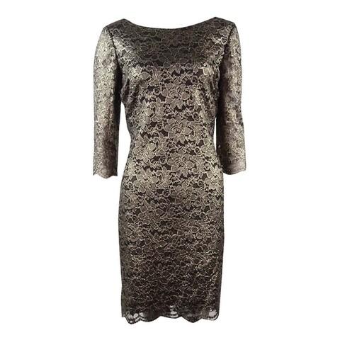 Ivanka Trump Women's Metallic Lace Sheath Dress - Gold