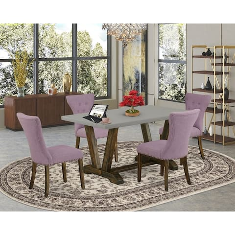 Dining Set Included Parson Chairs and Rectangular Cement Table-Distressed Jacobean Finish