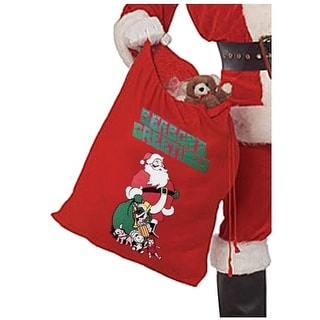 Printed Flannel Santa Claus Toy Bag Adult Costume Accessory