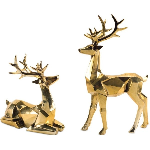 Pack of 2 Decorative Golden Poly-stone Geometric shape Deer