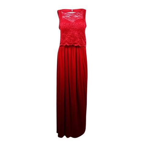 Nightway Women's Glitter Lace Popover Chiffon Skirt Dress