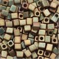 Miyuki 4mm Glass Cube Beads 'Matte Metallic Khaki Iris' 2035 10 Grams - Thumbnail 0