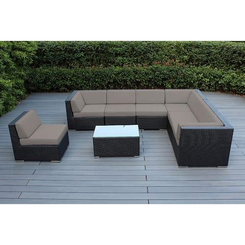 Ohana Outdoor Patio 8 Piece Black Wicker Conversation Set with Cushions