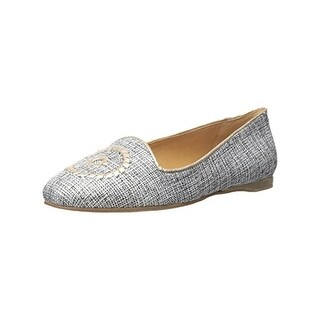 Jack Rogers Womens Rebecca Smoking Loafers Metallic Embroidered