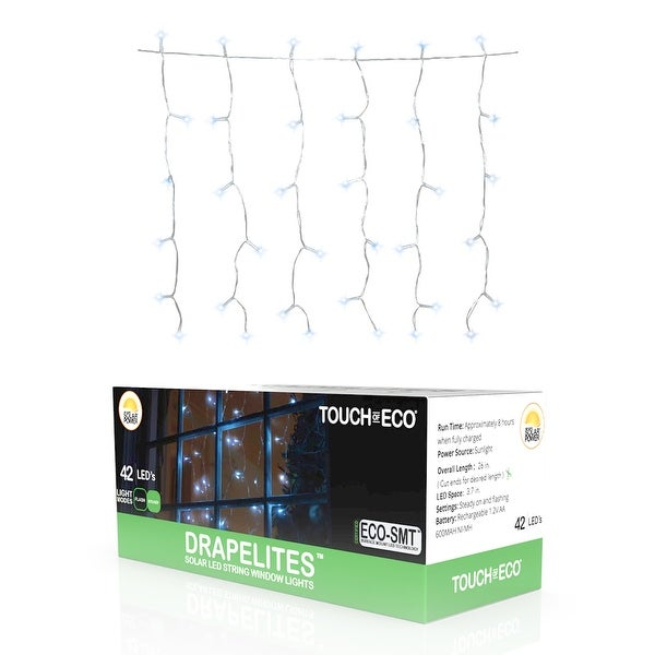 Solar Window Icicle 42 LED String Light - 1, 2 or 4 Pack - White