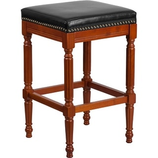 Dublin 30'' High Backless Light Cherry Wood Barstool with Black Leather Seat