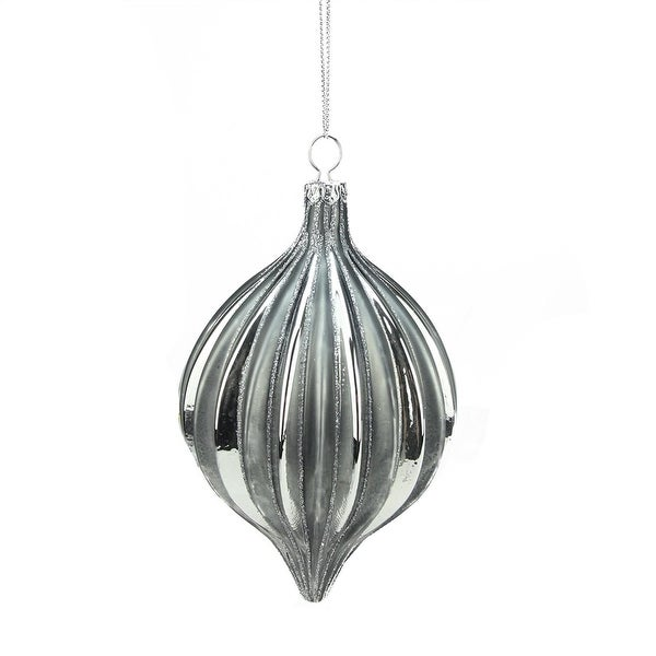 """6"""" Shiny and Matte Silver Glittered Ribbed Glass Christmas Onion Ornament"""