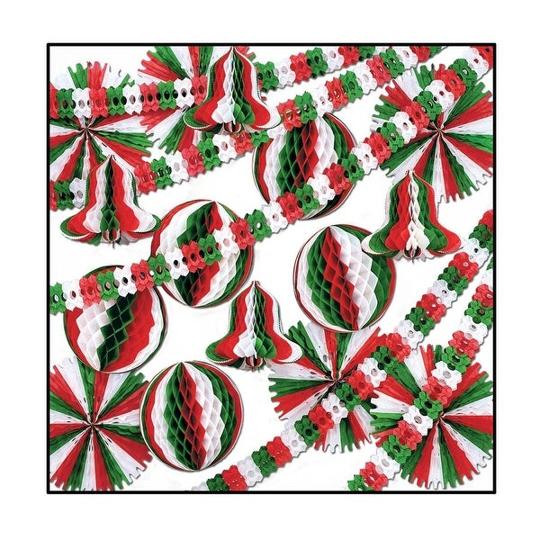 27-Piece Red, Green and White Fans, Balls, Bells and Garland Christmas Decoration Kit