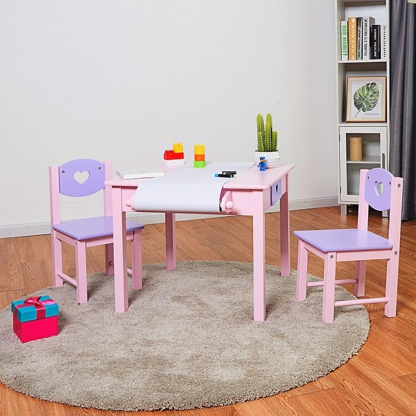 Costway Kids Art Table And 2 Chairs Set With Paper Roll
