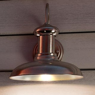 """Luxury Industrial Chic Outdoor Wall Light, 12.375""""H x 12""""W, with Nautical Style Elements, Aged Nickel Finish by Urban Ambiance"""