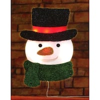 "16"" Lighted Tinsel Snowman with Top Hat Christmas Window Silhouette Decoration - multi"