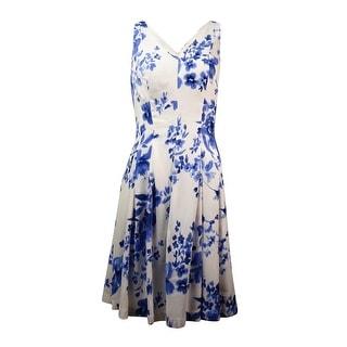 Lauren Ralph Lauren Women's V-Neck Crepe A-Line Dress