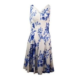 Lauren Ralph Lauren Women's V-Neck Crepe A-Line Dress - cream/blue