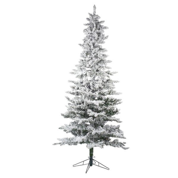 7 5 Pre Lit White And Natural Green Slim Flocked Christmas Tree Clear Lights N A