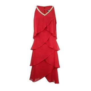 SLNY Women's Rhinestone-Trim Tiered Dress - Crimson