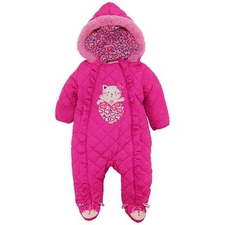 Duck Duck Goose Baby Girls' Hooded Footed Quilted Pram Suit (2 options available)