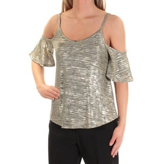 Womens Gold Heather Short Sleeve V Neck Casual Top Size XL