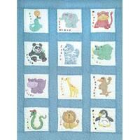 """Children's Zoo - Stamped White Nursery Quilt Blocks 9""""X9"""" 12/Pkg"""