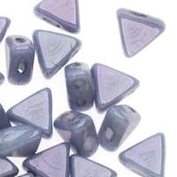 Czech Glass Kheops par Puca, 2-Hole Triangle Beads 6mm, 9 Grams, Opaque Blue Luster