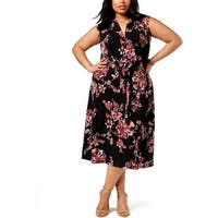 Connected Apparel Womens Plus Midi Dress Sleeveless Floral