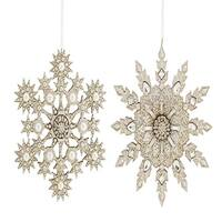 """Set of 4 Silver Colored Snowflake Designed Home Decorative Hanging Ornaments 6.5"""""""