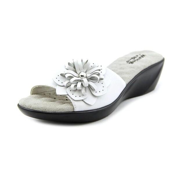 Walking Cradles Cuddle Women Open Toe Leather White Wedge Sandal