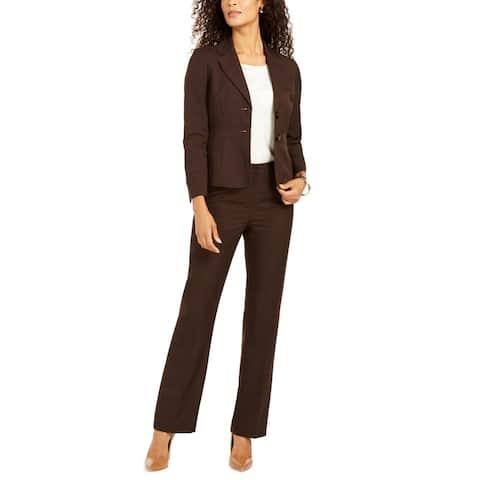Le Suit Womens Pant Suit Two Button Heathered - Espresso - 8