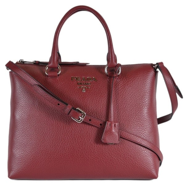 Prada 1BA063 Vitella Phenix Borsa Burgundy Leather Convertible Purse Handbag  - Red fd3e9ec991