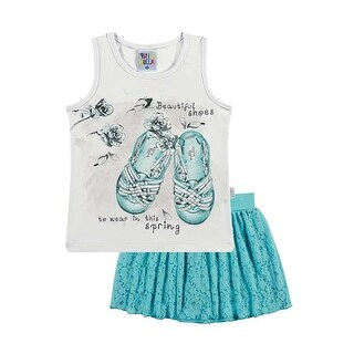 Toddler Girl Outfit Graphic Tank Top and Skort Set Pulla Bulla Sizes 1-3 Years