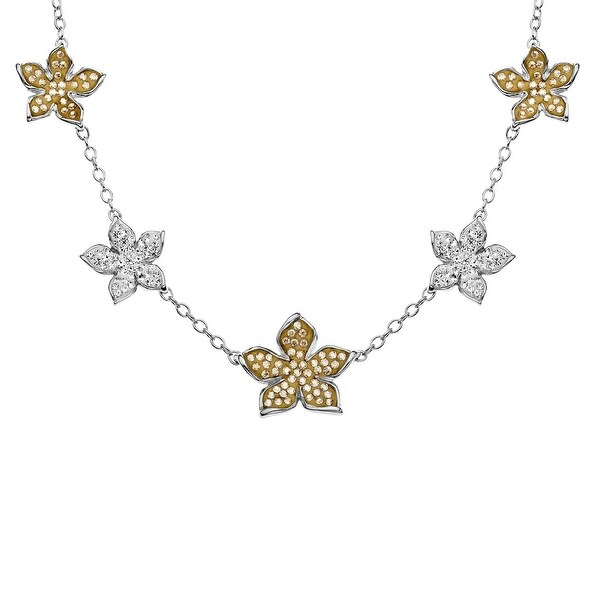 Crystaluxe Flower Necklace with Golden & Silver Swarovski elements Crystals in Sterling Silver