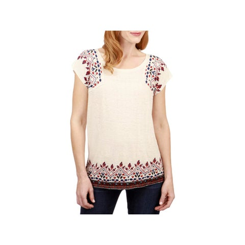 Lucky Brand Womens Pullover Top Linen Blend Embroidered