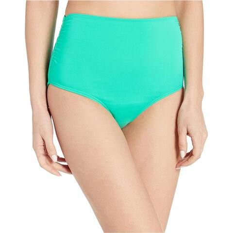 Anne Cole Women's High Waist to Fold Over Shirred Bikini Bottom Swimsuit, Live in Color Jade, Small