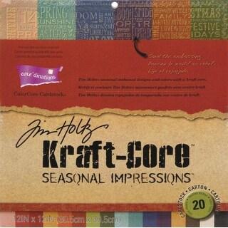 "Core'dinations Tim Holtz Kraft Core Cardstock 12""X12"" 20/Pkg-Seasonal Impressions"
