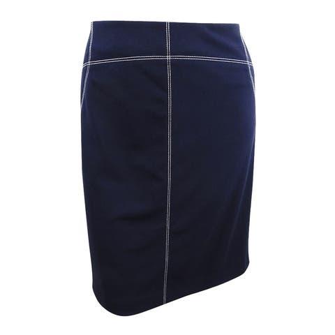 Calvin Klein Women's Plus Size Contrast-Stitched Pencil Skirt (22W, Twilight) - Twilight - 22W
