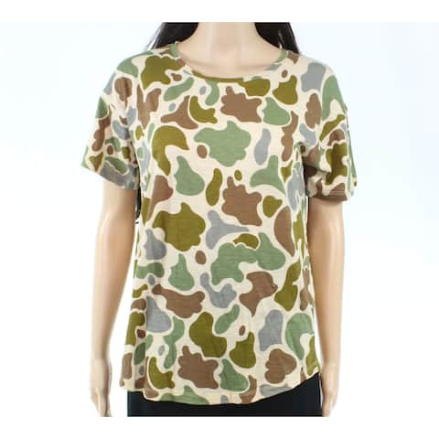 Madewell Womens Brown Size Small S Camouflage-Print T-Shirt Knit Top