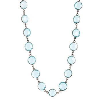 Blue Topaz Quartz Station Bezel Necklace