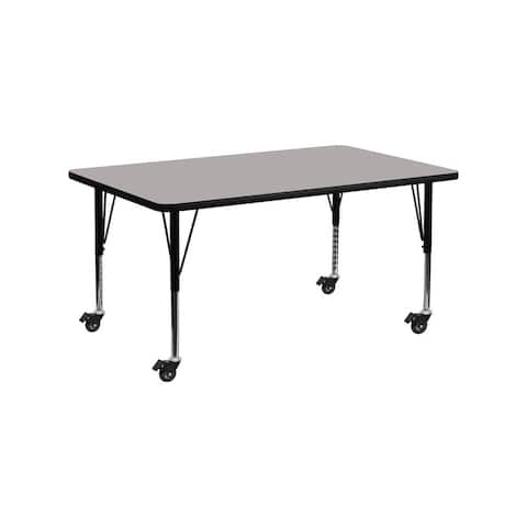 """Offex 24""""W x 60""""L Mobile Rectangular Activity Table with 1.25"""" Thick High Pressure Laminate Top and Pre-School Leg"""