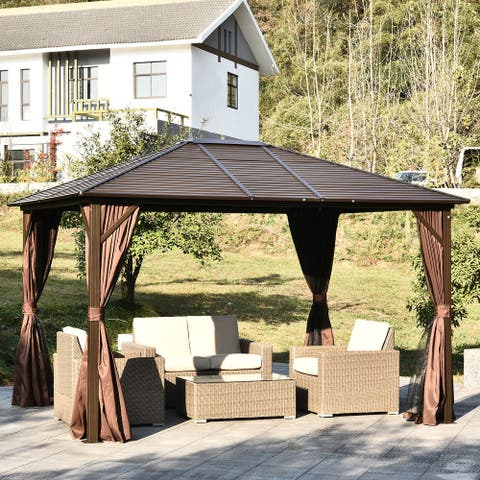 Outsunny Steel Hardtop Outdoor Gazebo (12' x 10')