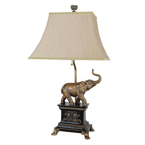 Metal Elephant Table Lamp with Cut Corner Rectangular Shade, Set of 4, Gold